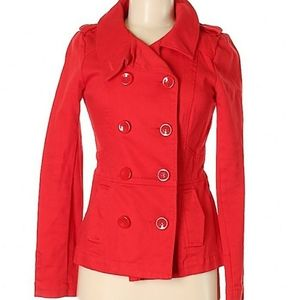 Red peacoat new H&M Divided womens jacket nwot 4